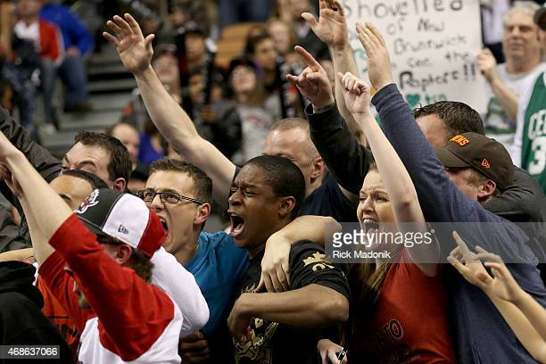 TORONTO APRIL 4 As the game heads into Overtime the crowd gets all worked up Toronto Raptors vs Boston Celtics in OT action of NBA regular season...