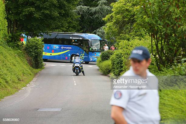 as the Germany team arrive at their base camp ahead of the UEFA EURO 2016 at Hotel Ermitage Evian on June 7 2016 in EvianlesBains France Germany's...