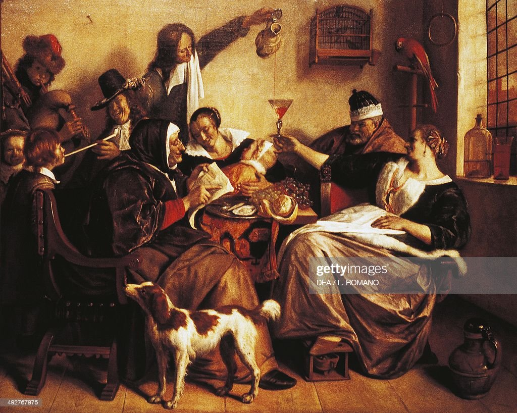 As the old sing, so pipe the young, 1665, by Jan Steen (ca 1626-1679), oil on canvas, 134 x 163 cm. The Netherlands, 17th century. The Hague, Mauritshuis
