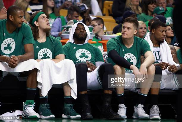 As time winds down in the game and their season Boston Celtics Al Horford Kelly Olynyk Jae Crowder Jonas Jerebko and Marcus Smart are not a happy...
