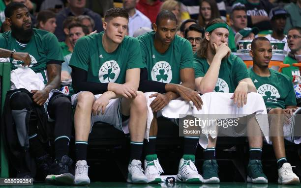 As time winds down in the game and their season Boston Celtics Amir Johnson Jonas Jerebko Al Horford Kelly Olynyk and Avery Bradley are not a happy...