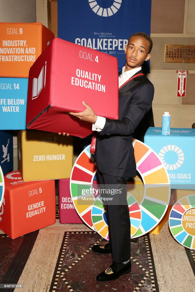 As world leaders gather in New York for the UN General Assembly actor Jaden Smith attends The Goalkeepers Global Goals Awards hosted by UN Deputy Secretary-General Amina J. Mohammed and Melinda Gates. The event honored outstanding individuals who are accelerating progress towards the UN's Global Goals and was held at Gotham Hall on September 19, 2017 in New York City.