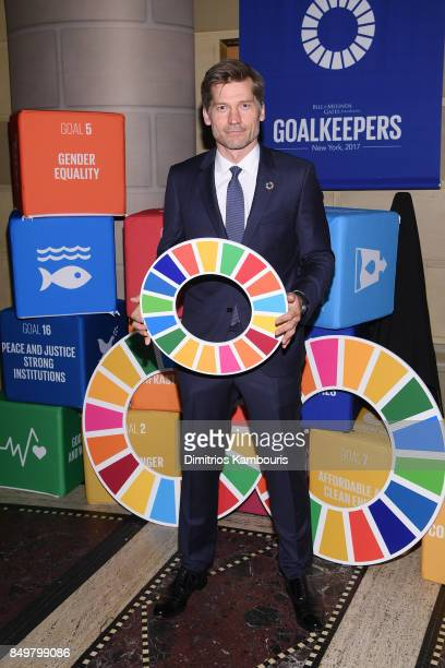 As world leaders gather in New York for the UN General Assembly Actor Nikolaj CosterWaldau attends The Goalkeepers Global Goals Awards hosted by UN...
