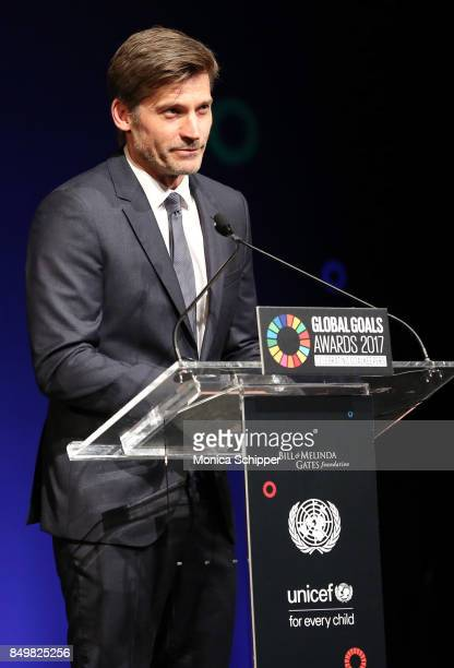 As world leaders gather in New York for the UN General Assembly actor Nikolaj CosterWaldau speaks on stage at The Goalkeepers Global Goals Awards...