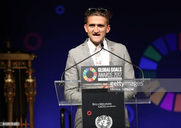 As world leaders gather in New York for the UN General Assembly Casey Neistat speaks on stage at The Goalkeepers Global Goals Awards hosted by UN...