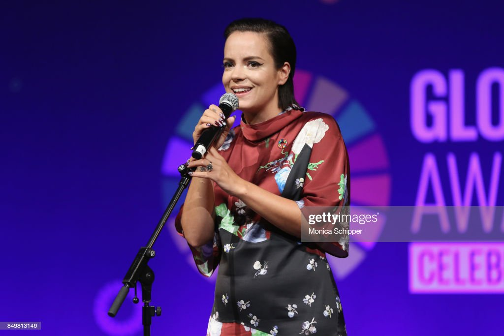 As world leaders gather in New York for the UN General Assembly singer Lily Allen performs on stage at The Goalkeepers Global Goals Awards hosted by UN Deputy Secretary-General Amina J. Mohammed and Melinda Gates. The event honored outstanding individuals who are accelerating progress towards the UN's Global Goals and was held at Gotham Hall on September 19, 2017 in New York City.