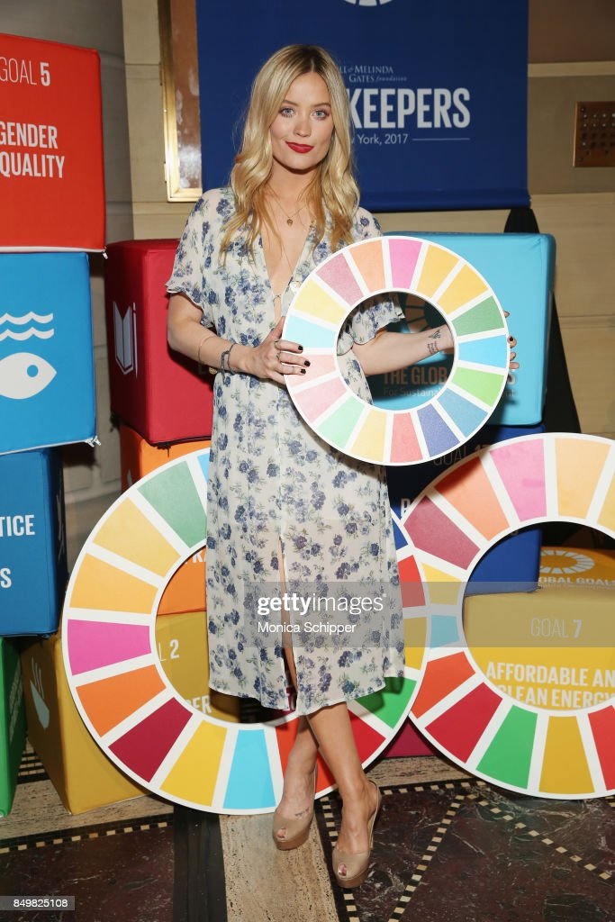 As world leaders gather in New York for the UN General Assembly model Laura Whitmore attends The Goalkeepers Global Goals Awards hosted by UN Deputy Secretary-General Amina J. Mohammed and Melinda Gates. The event honored outstanding individuals who are accelerating progress towards the UN's Global Goals and was held at Gotham Hall on September 19, 2017 in New York City.