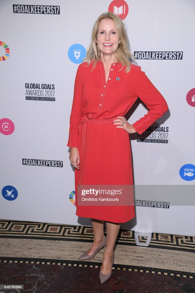 As world leaders gather in New York for the UN General Assembly former Prime Minister of Denmark Helle Thorning-Schmidt attends The Goalkeepers Global Goals Awards hosted by UN Deputy Secretary-General Amina J. Mohammed and Melinda Gates. The event honored outstanding individuals who are accelerating progress towards the UN's Global Goals and was held at Gotham Hall on September 19, 2017 in New York City.
