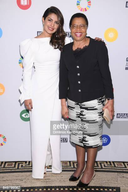 As world leaders gather in New York for the UN General Assembly actress Priyanka Chopra and Graça Machel attend The Goalkeepers Global Goals Awards...