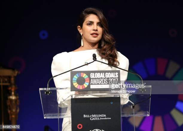 As world leaders gather in New York for the UN General Assembly actress Priyanka Chopra speaks on stage at The Goalkeepers Global Goals Awards hosted...