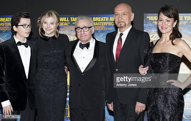 LR Asa Butterfield Chloe Moretz Martin Scorsese Sir Ben Kingsley And Helen Mccrory Attending The Royal Film Premiere Of 'Hugo' At The Odeon Leicester...