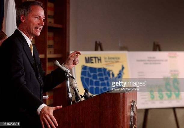 Asa Hutchinson administrator of the Drug Enforcement Administration spoke at a press conference at the US Attorney's Office 1225 17th Street in...