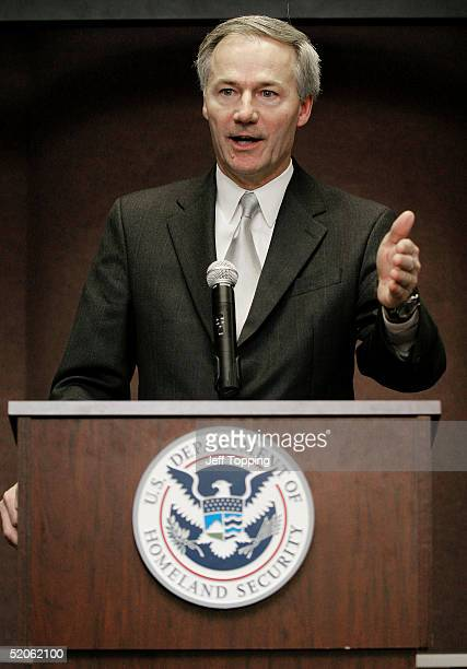 Asa Hutchinson Under Secretary for Border and Transportation Security for the US Department of Homeland Security announces the planned use of radio...