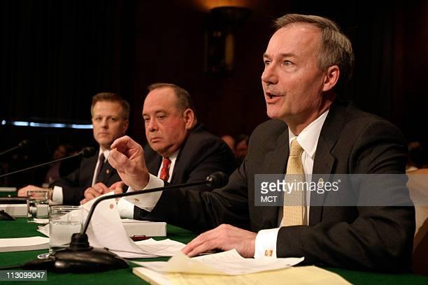 WASHINGTON DC Asa Hutchinson Undersecretary of Homeland Security for Border and Transportation Security Directorate Eduardo Aguirre director of the...