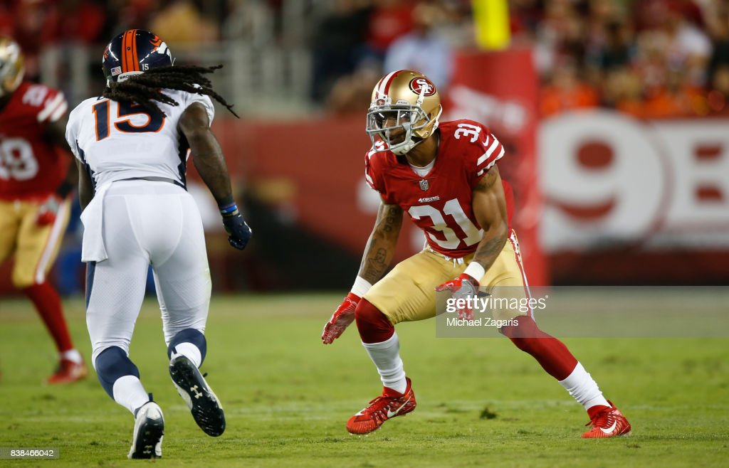 31 Mens Home Red Nike Game Football Jersey Asa Jackson 31 of the San  Francisco 49ers defends during the game against the Denver ... 46c120d86