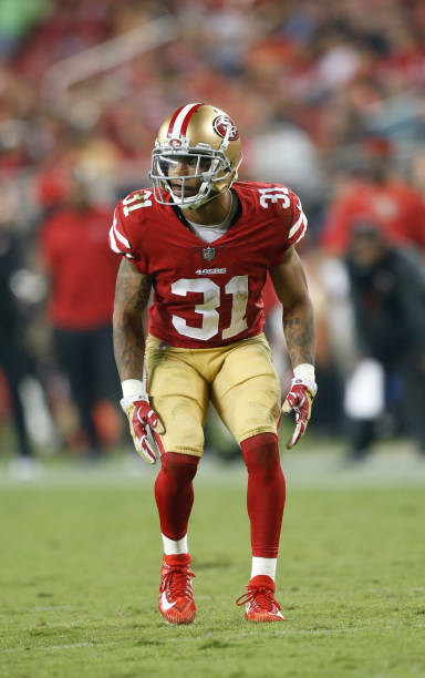 ... Jersey Asa Jackson 31 of the San Francisco 49ers defends during the  game against the Los ... d2a25ef70