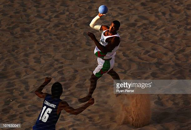 Asad Alhasani of Oman shoots at goal during the Men's Handball Bronze Medal match between Oman and Thailand during the Beach Handball event at...