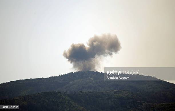 Asad regime forces bomb Kesab district of Latakia from air and from the land after the district was captured by Syrian opposition groups in Syria on...