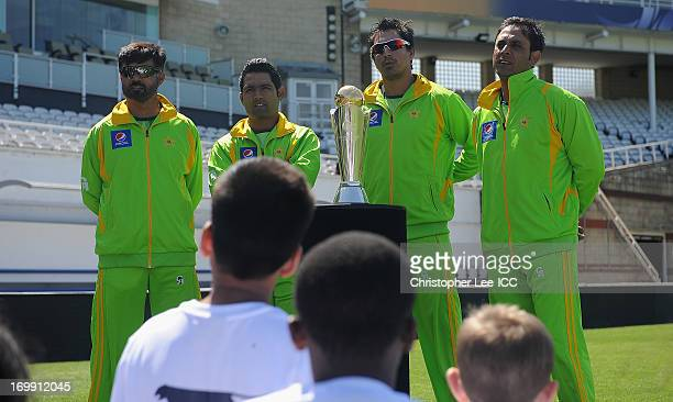Asad Shafiq Nasir Jamshed and Abdur Rehman with other members of the Pakistan Team answer questions from children from the Curwen Primary School as...