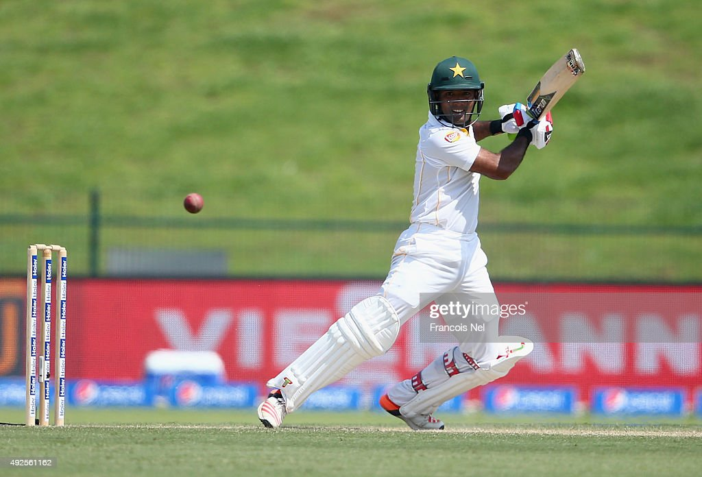 <a gi-track='captionPersonalityLinkClicked' href=/galleries/search?phrase=Asad+Shafiq&family=editorial&specificpeople=7061328 ng-click='$event.stopPropagation()'>Asad Shafiq</a> of Pakistan bats during Day Two of the First Test between Pakistan and England at Zayed Cricket Stadium on October 14, 2015 in Abu Dhabi, United Arab Emirates.