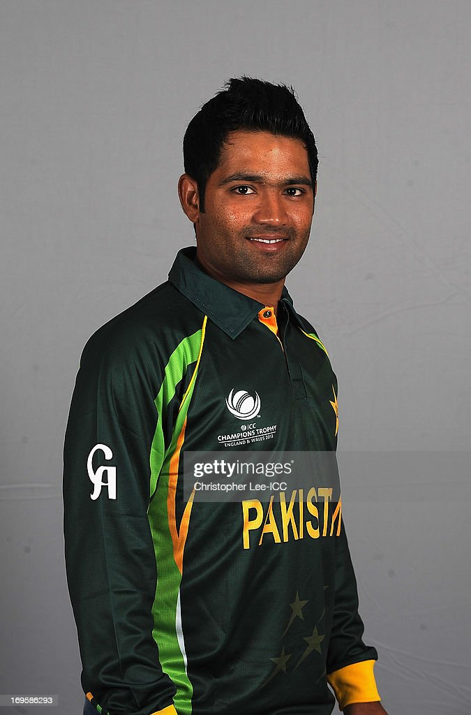 <a gi-track='captionPersonalityLinkClicked' href=/galleries/search?phrase=Asad+Shafiq&family=editorial&specificpeople=7061328 ng-click='$event.stopPropagation()'>Asad Shafiq</a> of Pakistan poses during a Pakistan Portrait Session at the Hyatt Hotel on May 28, 2013 in Birmingham, England.