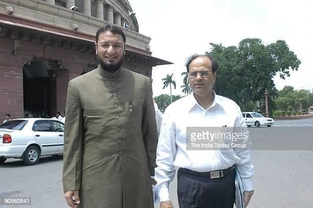 Asaduddin Owaisi AIMIM party MP from Hyderabad with Abu Asim Azmi Rajya Sabha MP at Parliament house in New Delhi India