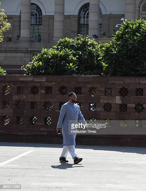 Asaduddin Owaisi at Parliament House on August 3 2016 in New Delhi India The Rajya Sabha passed the Goods and Services Tax Constitutional Amendment...