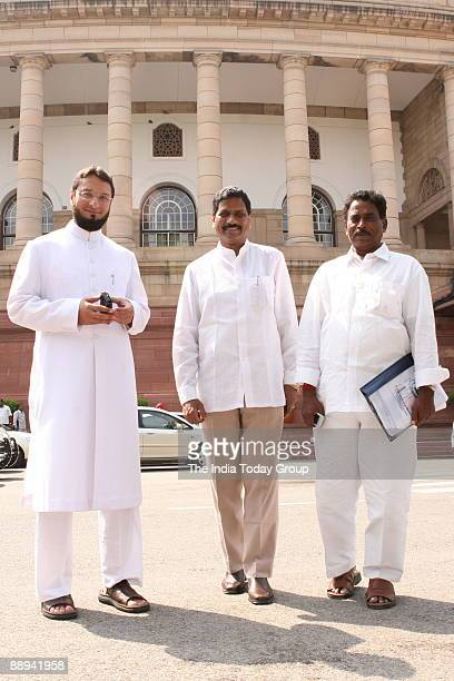 Asaduddin Owaisi Member of Parliament from Hyderabad along with M Shashidhar Reddy and P Janardhan Reddy at Parliament House in New Delhi India