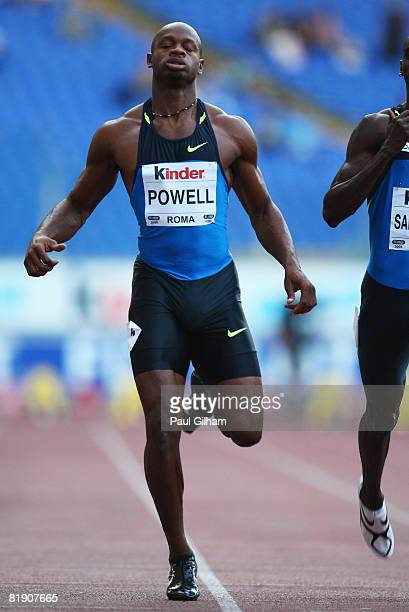 Asafa Powell of Jamaica competes during the Mens 100m heats during the IAAF Golden Gala at the Stadio Olimpico on July 11 2008 in Rome Italy