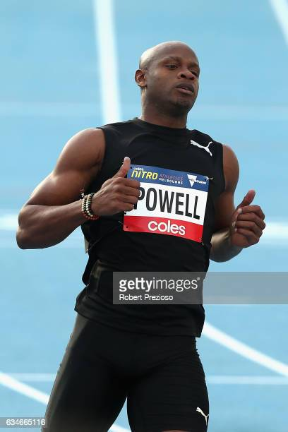 Asafa Powell of Jamaica competes in men 60 metre during the Melbourne Nitro Athletics Series at Lakeside Stadium on February 11 2017 in Melbourne...
