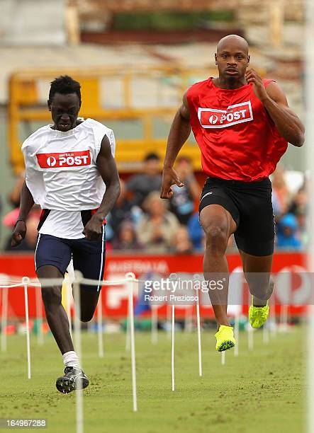 Asafa Powell of Jamaica competes in the Australia Post Stawell Gift Heat 11 during the 2013 Stawell Gift carnival at Central Park on March 30 2013 in...