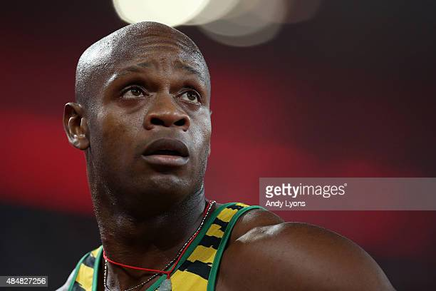 Asafa Powell of Jamaica reacts after competing in the Men's 100 metres heats during day one of the 15th IAAF World Athletics Championships Beijing...