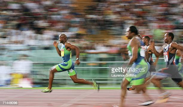 Asafa Powell of Jamaica runs to victory in the Mens 100m during the IAAF Golden League Golden Gala meeting on July 14 2006 at the Olympic Stadium in...