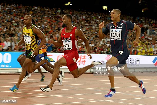 Asafa Powell of Jamaica Tyson Gay of the United States and Jimmy Vicaut of France compete in the Men's 100 metres semifinal during day two of the...