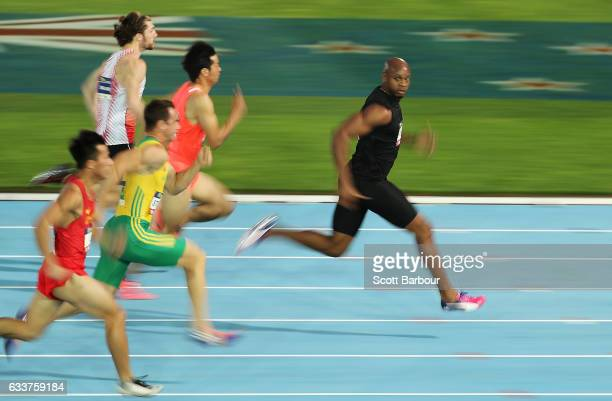 Asafa Powell of of Usain Bolt's AllStar team runs and wins the Men's 60 Metre race during Nitro Athletics at Lakeside Stadium on February 4 2017 in...