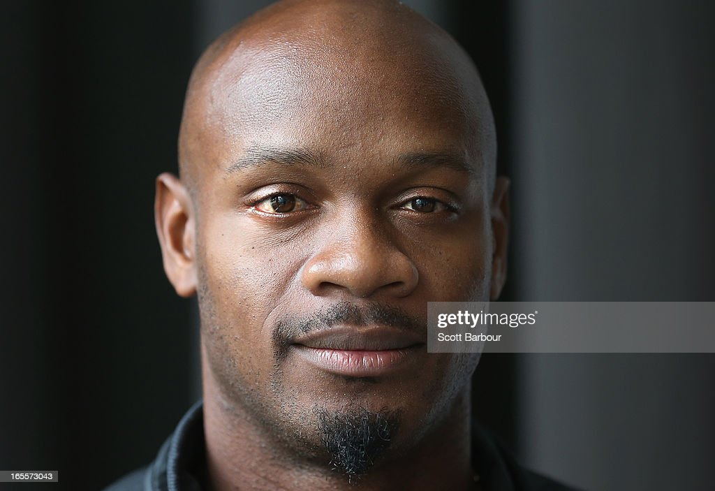 <a gi-track='captionPersonalityLinkClicked' href=/galleries/search?phrase=Asafa+Powell&family=editorial&specificpeople=240116 ng-click='$event.stopPropagation()'>Asafa Powell</a> of the United States poses during the John Landy Lunch on April 5, 2013 in Melbourne, Australia.