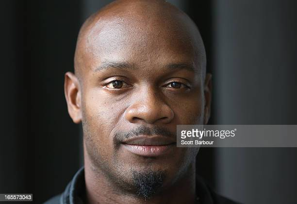 Asafa Powell of the United States poses during the John Landy Lunch on April 5 2013 in Melbourne Australia