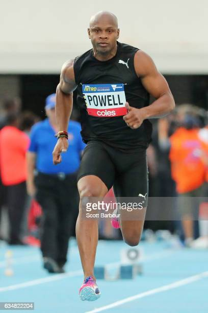 Asafa Powell of Usain Bolt's AllStar team competes in the Mens 60 Metre Race during the Melbourne Nitro Athletics Series at Lakeside Stadium on...
