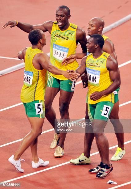 Asafa POWELL / Usain BOLT / Nesta CARTER / Michael FRATER Relais 4x100m Jeux Olympiques Pekin 2008