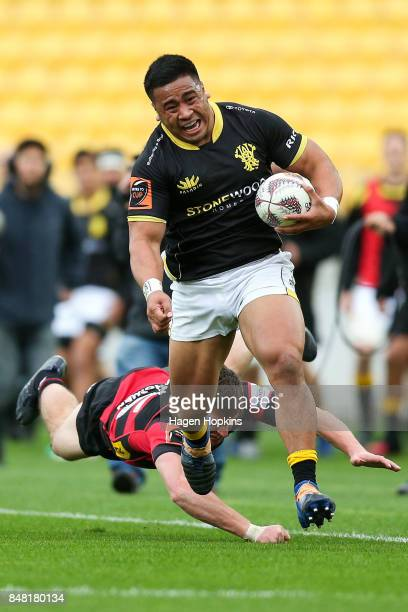 Asafo Aumua of Wellington breaks away for a try during the round five Mitre 10 Cup match between Wellington and Canterbury at Westpac Stadium on...