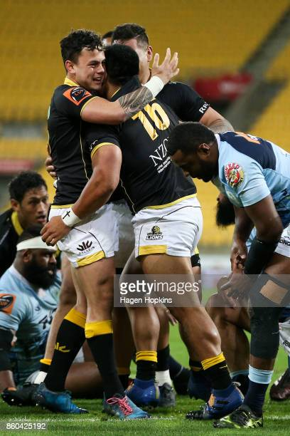 Asafo Aumua of Wellington celebrates with Carlos Price after scoring a try during the round nine Mitre 10 Cup match between Wellington and Northland...