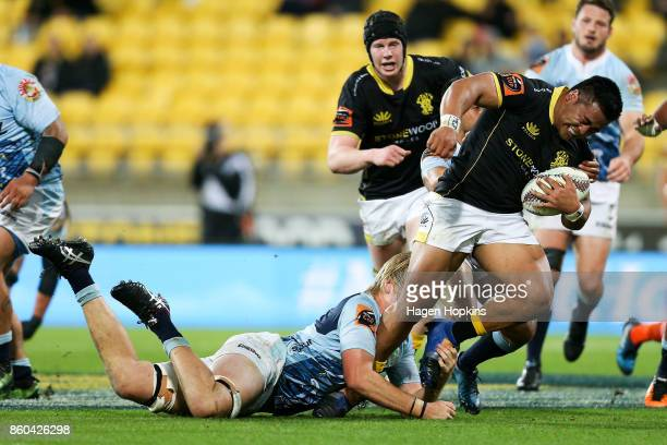 Asafo Aumua of Wellington is tackled by Josh Goodhue of Northland during the round nine Mitre 10 Cup match between Wellington and Northland at...