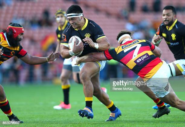 Asafo Aumua of Wellington is tackled by Mitch Jacobson of Waikato during the round six Mitre 10 Cup match between Waikato and Wellington at FMG...