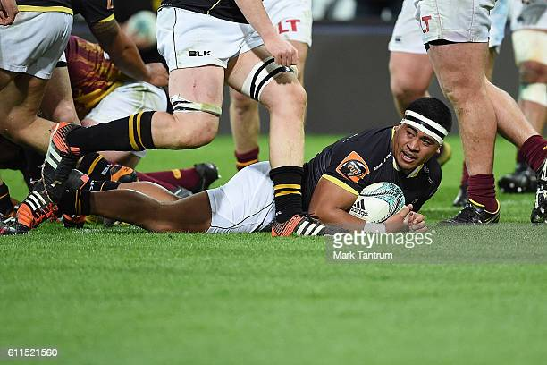 Asafo Aumua of Wellington Lions during the round seven Mitre 10 Cup match between Wellington and Southland at Westpac Stadium on September 30 2016 in...