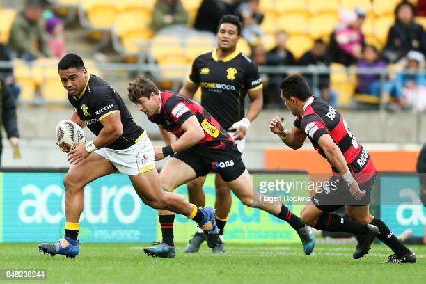 Asafo Aumua of Wellington makes a break during the round five Mitre 10 Cup match between Wellington and Canterbury at Westpac Stadium on September 17...