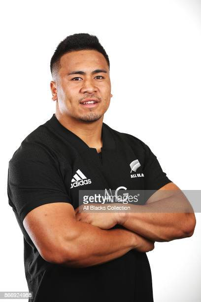 Asafo Aumua poses for a portrait during the New Zealand All Blacks End of Year Tour headshots session on October 27 2017 in Auckland New Zealand