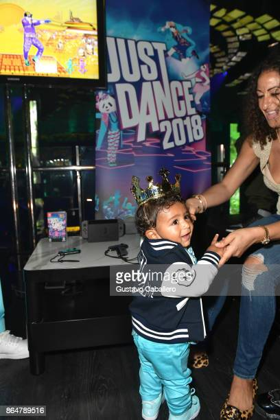 Asahd Khaled celebrates his first birthday by playing Just Dance 2018 on October 21 2017 in Miami Beach Florida