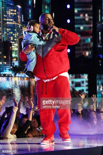 Asahd Tuck Khaled and DJ Khaled onstage at 2017 BET Awards at Microsoft Theater on June 25 2017 in Los Angeles California