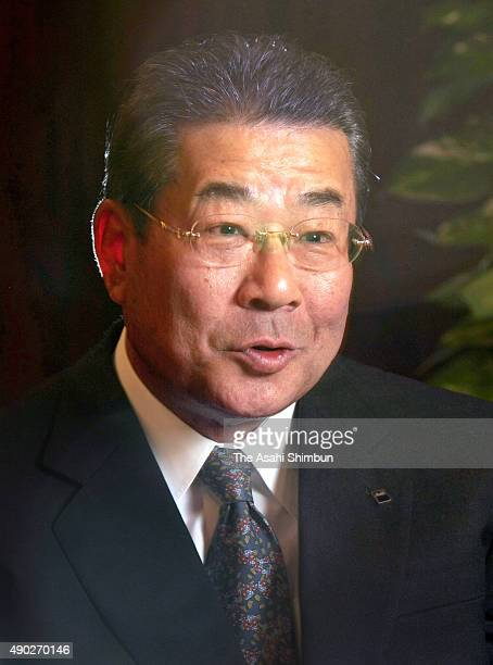 Asahi Breweries Chairman Koichi Ikeda speaks during the Asahi Shimbun interview at Keidanren Headquarters on April 10 2008 in Tokyo Japan