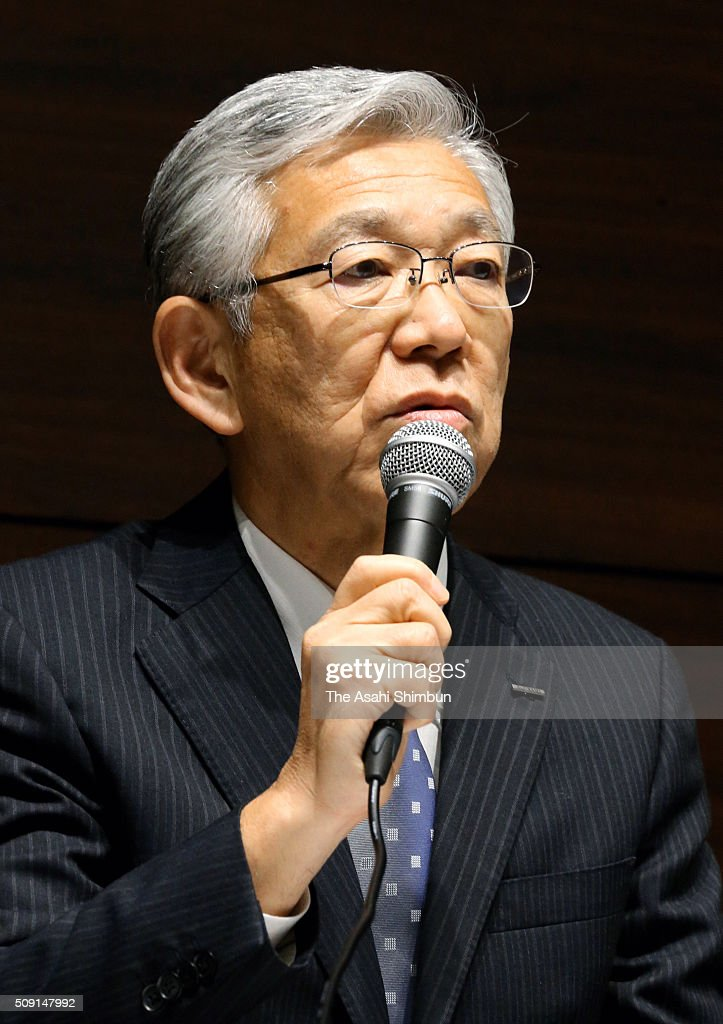 Asahi Kasei incoming president Hideki Kobori talks during a press conference on February 9, 2016 in Tokyo, Japan. Current president Toshio Asano steps down to take responsibility for the falsified piling data scandal by its subsidiary Asahi Kasei Construction Materials.